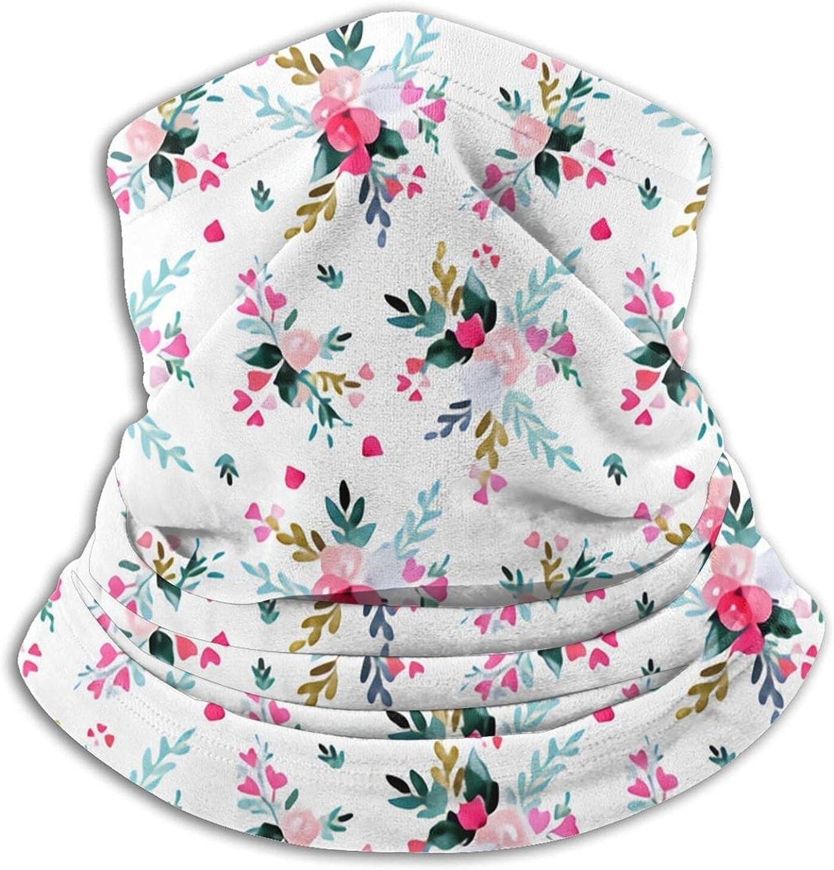 Pink Love Floral Bandanas Neck Gaiter Face Mask Scarf Face Shield