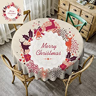 Kmydt Washable Round Tablecloth, Christmas Decoration Premium Round Tablecloth for Kitchen Dinning Tabletop Decoration Xmas Abstract Reindeer Holly Snowflake Gold Bell Present Colorful - 51