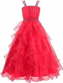 FEESHOW Girls' Organza Ruffle Layered Formal Wedding Pageant Party Flower Girl Dress