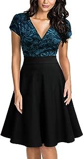 Women's Deep V-Neck Elegant Floral Lace Contrast Cocktail Party Dress