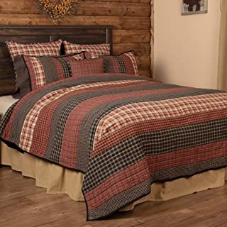 VHC Brands Rustic Beckham Cotton Pre-Washed Patchwork Striped Rectangle Luxury King Bedding Accessory, Lux Quilt 120x105, Rust Red