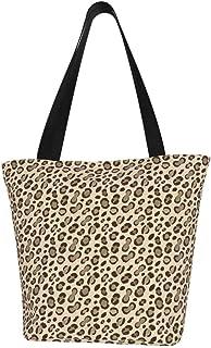 Lesif Einkaufstaschen, apricot Leoparden-Muster, Segeltuch, Schultertasche, wiederverwendbar, faltbar, Reisetasche, groß und langlebig, robuste Einkaufstaschen