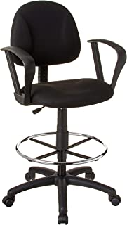 Boss Office Products Ergonomic Works Drafting Chair with Loop Arms in Black