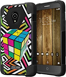 Capsule Case Compatible with Alcatel IdealXcite, Alcatel Verso, Alcatel CameoX, Alcatel Raven LTE, [Hybrid Fusion Dual Layer Shockproof Combat Kickstand Case Black] - (Rubiks Cube)