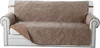 OstepDecor Premium Quilted Sofa Cover, Seat Width Up to 62 Inch Velvet Furniture Protector, Couch Protector, Couch Cover Cushion Couch Sofa Slipcover for Pets, Dogs, Cats (Sofa Small: Coffee)