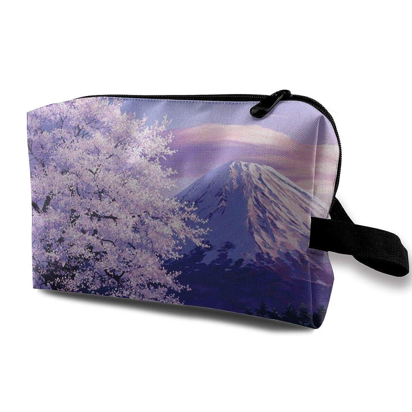 スロー普通に八化粧ポーチ 化粧品ポーチ 富士山 桜満開のころ メイクポーチ 多機能 収納力抜群 出張 旅行 便利 軽量 小物入れ かわいい 人気 おしゃれ プレゼント