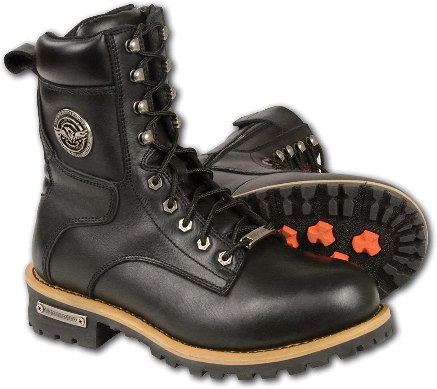 Milwaukee Men's Genuine Leather Motorcycle LACE to Toe Boot with Side Zipper Thick Leather