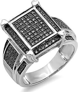 مجموعة دازلينج روك 0.50 قيراط (ctw) جولة الماس الأسود للرجال السيدات للجنسين كوكتيل خاتم الخطوبة 1/2 CT، الفضة الاسترليني