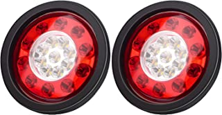 Linkitom 4.3 Inchs Round 19 LED Red/Amber Stop Tail Turn Signal Brake Lights with Rubber Mount, 12-24V(2pcs)