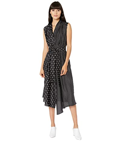Adam Lippes Sleeveless Asymmetrical Dress (Polka Dot Black/White) Women