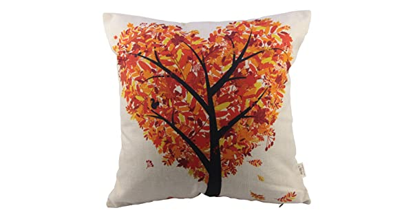 HOSL Orange Heart Shape Tree Square Decorative Throw Pillow Case Cushion Cover 17.317.3 Inch 44CM44CM