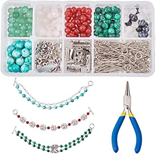 SUNNYCLUE 1 Box DIY 6 Set Natural Stone Beaded Chain Bracelet Making Kit with Silver Tone Toggle Clasp Link and Round Nose Pliers