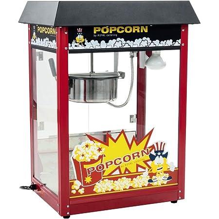 Royal Catering Machine À Popcorn Professionnelle RCPS-16E (1600 W, 5 Kg/Heure, 16 l/h, Marmite ø18,5 cm, Revêtement Téflon, Rouge, Toit Noir)