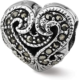925 Sterling Silver Charm For Bracelet Marcasite Heart Bead Love Stone Crystal Fine Jewelry For Women