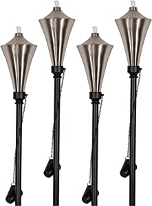 Dusq | Set of 4 Brushed Nickel Anco Outdoor Garden Torches/Tiki Torch, Use with Regular or Citronella Torch Fuel