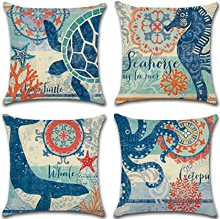 RICHEE-NL 4 Pics Linen Throw Pillow Covers Square Pillow Cases for Sofa Car, Marine Life, 1818 in (Ocean2)