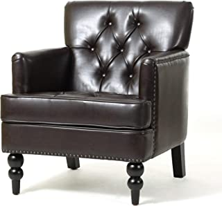 Christopher Knight Home Tufted Club Chair, Decorative Accent Chair with Studded Details - Brown