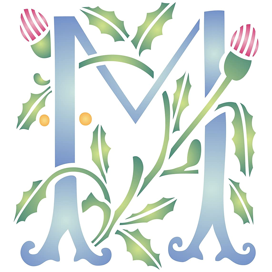 """Monogram M Stencil (size 6.5""""w x 7""""h) Reusable Stencils for Painting - Best Quality Letter Wall Art Décor Ideas - Use on Walls, Floors, Fabrics, Glass, Wood, Cards, and More…"""