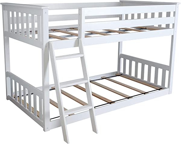 Max Lily Twin Over Twin Low Bunk Bed White