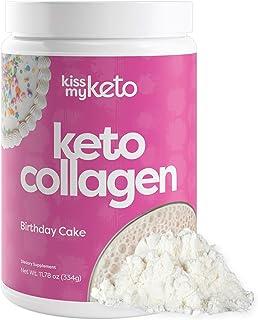 Kiss My Keto Protein Powder (Birthday Cake) — Keto Collagen Protein Powder + MCT Oil C8 (5g) | Low Carb Keto Shake | Sugar...