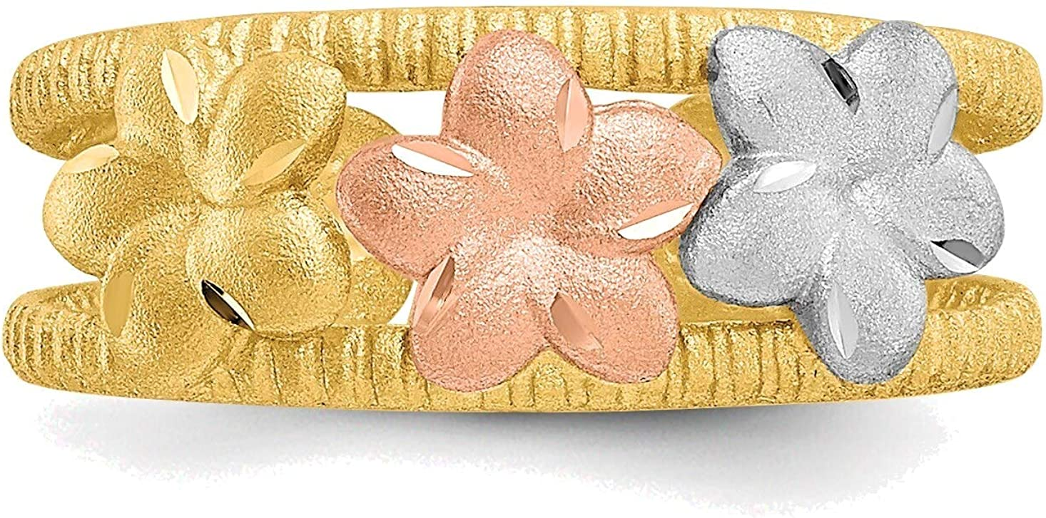 Bonyak Jewelry Two-Tone & Rhodium Plumeria Toe Ring in 14K Yellow Gold in Size 11