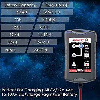 LST Trickle Battery Charger Automatic Maintainer 6V 12V Smart Float Charger for Automotive Car Motorcycle Lawn Mower ...