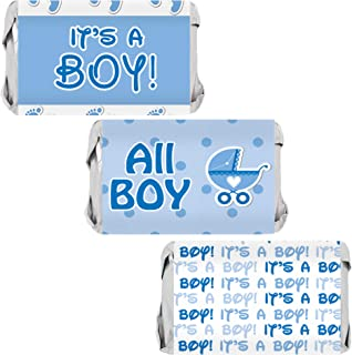 It's a Boy Baby Shower Mini Candy Bar Wrappers - Blue Footprint Theme - 45 Stickers