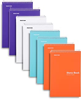 Mintra Office Steno Book - (BRIGHTS - Purp/Wht/Teal/Orange) - 6inx9in, 100 Sheets, 8 Pads/Pack, Narrow Ruled - Poly Cover,...