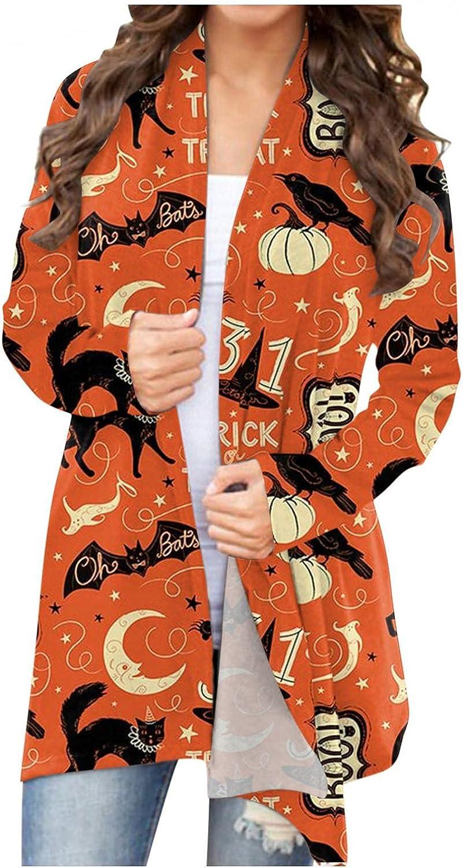 Aukbays Halloween Cardigan for Women,Women's Long Sleeve Open Front Cardigan Funny Pumpkin Black Cat Ghost Lightweight Coat
