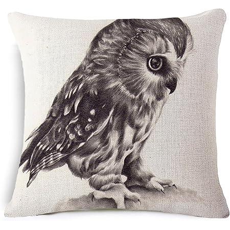 Amazon Com Vogol Decorative Linen Cotton Throw Pillow Case Cushion Covers Eagle Hawk Owl Series Home Kitchen