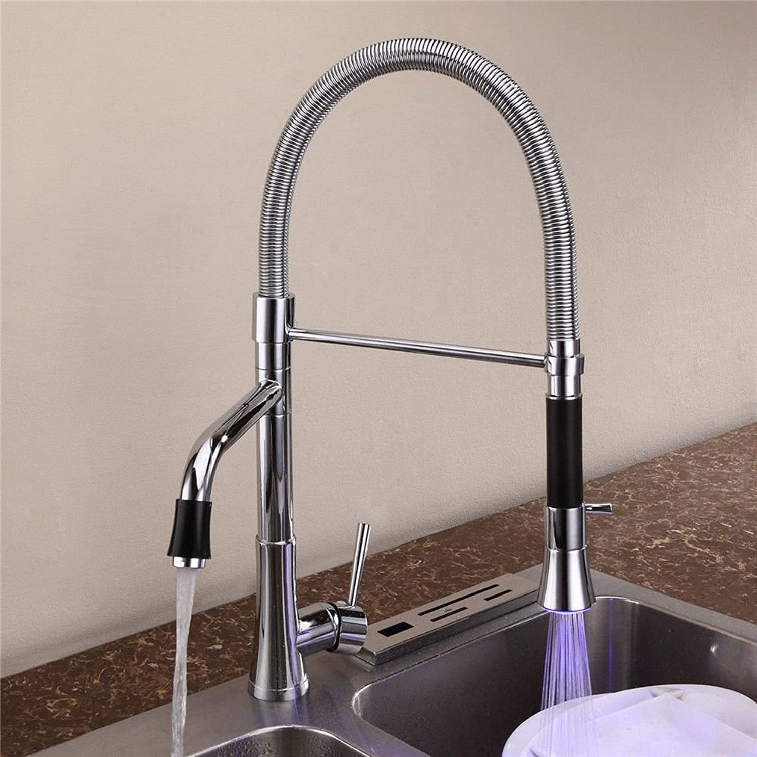 Lpophy Bathroom Sink Mixer Taps Faucet Bath Waterfall Cold and Hot Water Tap for Washroom Bathroom and Kitchen Copper Chrome-Plated Led Hot and Cold Single Hole Spring