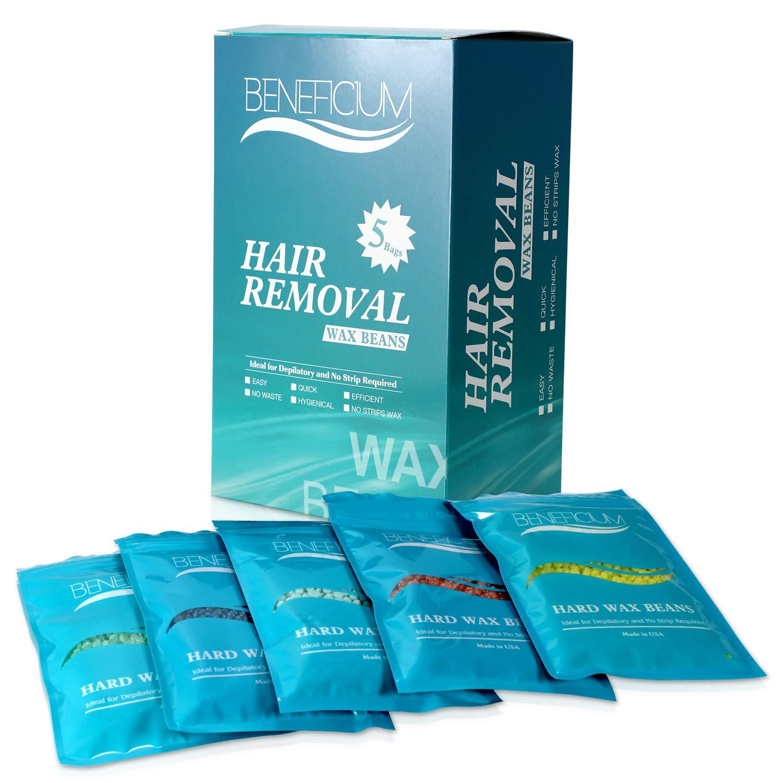 Beneficium Hard Wax, Hair Removal Beads Painless Stripless Wax Beans, 5 Pack,17.6 oz/500g (Wax Beans)