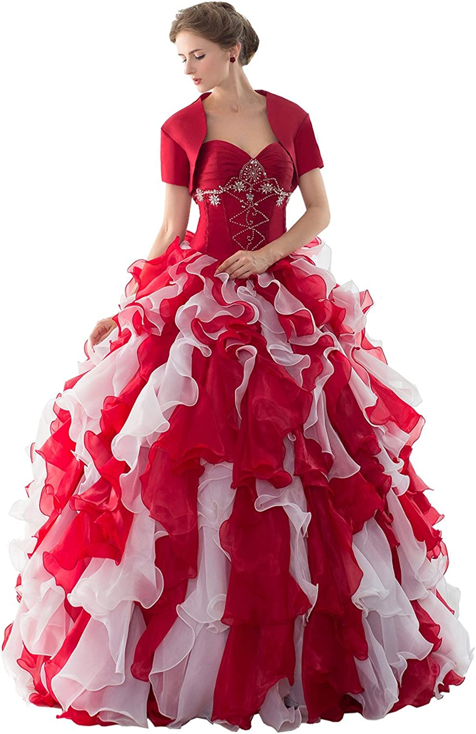 Engerla Sweetheart Strapless Organza Homecoming Dress with Jacket for Woman