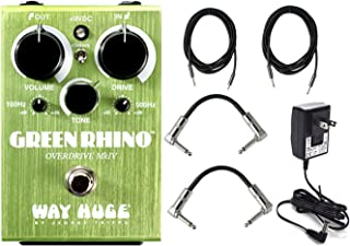 Dunlop WHE207 Way Huge Green Rhino MKIV Mini Effects Pedal With a Pair of Patch Cables, Power Supply, and Instrument Cables