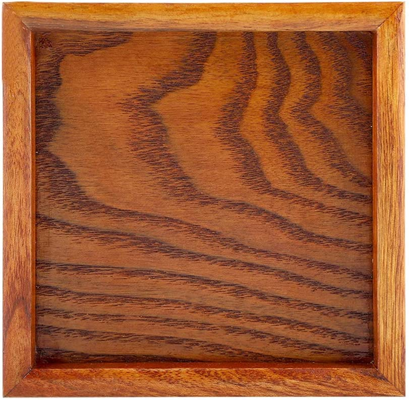 sushi Vassoio da t/è quadrato in legno massiccio caffetteria snack OhhGo Marrone 1 Legno per caff/è 12.5*12.5cm ristorante 12,5 x 12,5 cm
