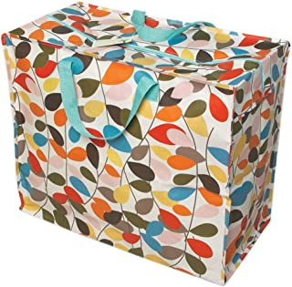 LS-LebenStil XXL Jumbo Bag Blumen Blau Rot Recycled Allzwecktasche Einkaufstasche