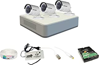 Hikvision 4 Ch HD DVR and 3 Bullet HD Camera Combo Kit; Include All Require Accessories for 3 Camera Installation