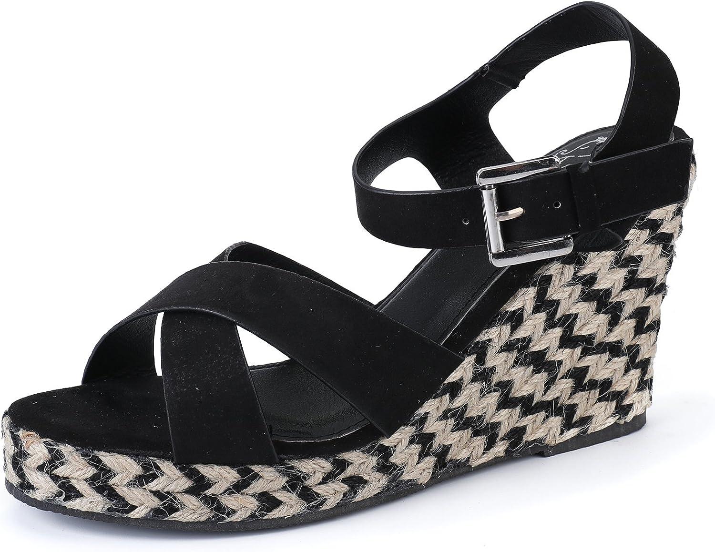 Alexis Leroy Women's Open Toe Cross Strap Wedge Espadrille Sandals
