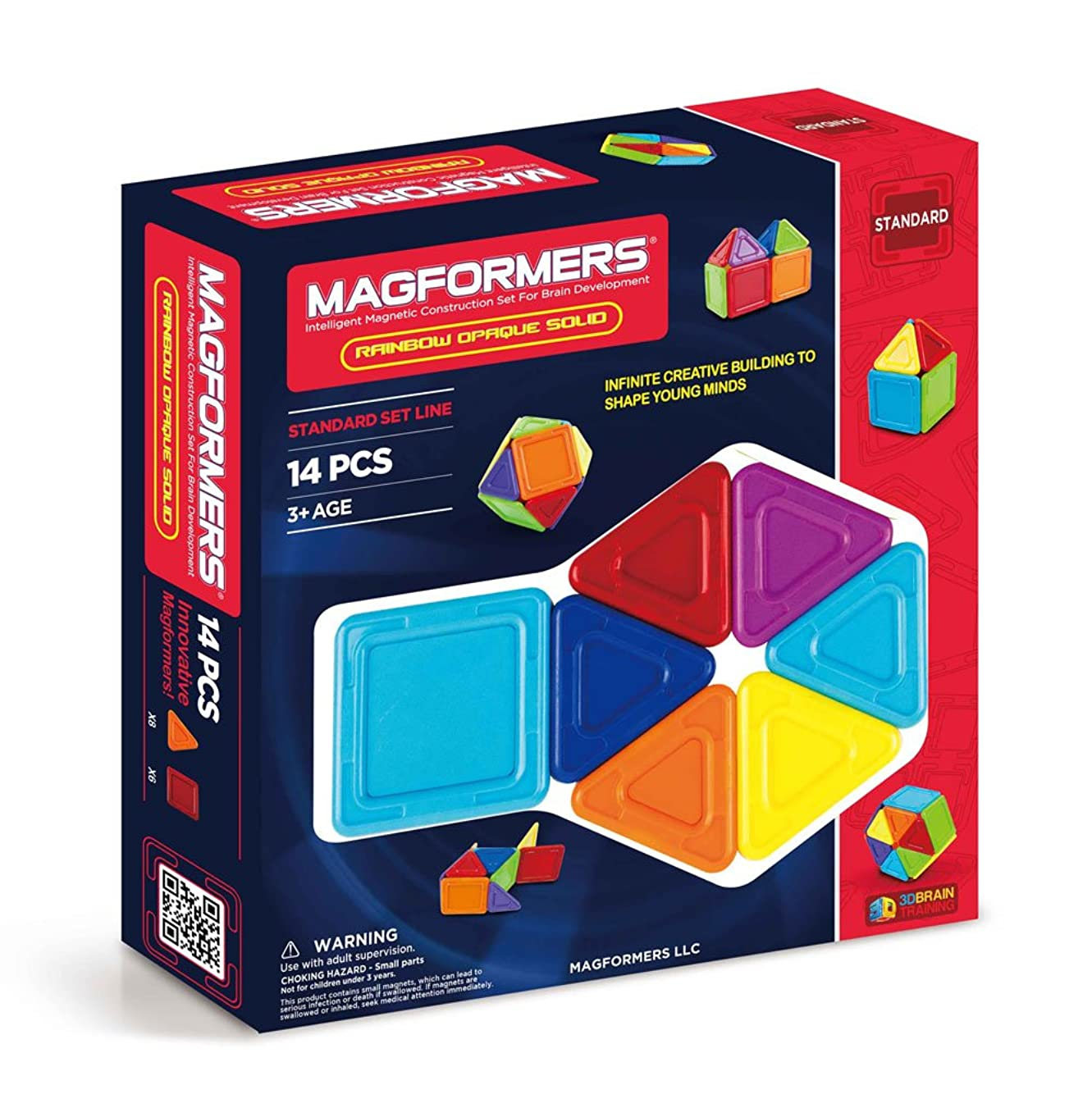 Magformers Rainbow Opaque Solid Set (14-pieces) Basic Magnetic    Building      Blocks, Educational  Magnetic    Tiles Kit , Magnetic    Construction  STEM Set