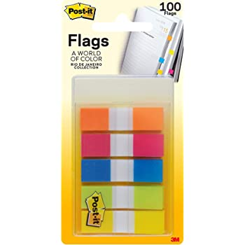 Post-it Flags, Rio de Janeiro Collection, Stays Put Until You Decide to Remove it.47 in. Wide, 100/On-the-Go Dispenser, (683-RIO2)
