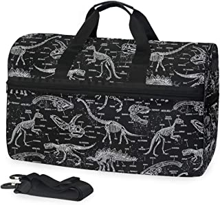 Black White Giraffe Animal Gym Bag with Shoes Compartment Sports Swim Travel Overnight Duffels
