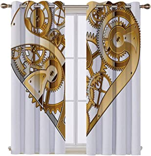 SATVSHOP Room Darkening Wide Curtains - 72W x 108L Inch- Customized Curtains.Industrial Mechanical Heart Physical Bodi Complex Structure of Love Techno omance Golden White.