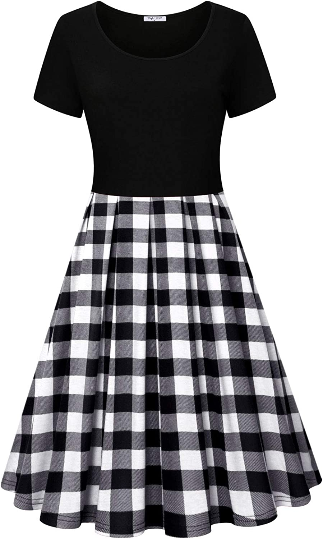 Diphi LiLi Women's Round Neck Dresses Short Sleeve Vintage Plaid Dress