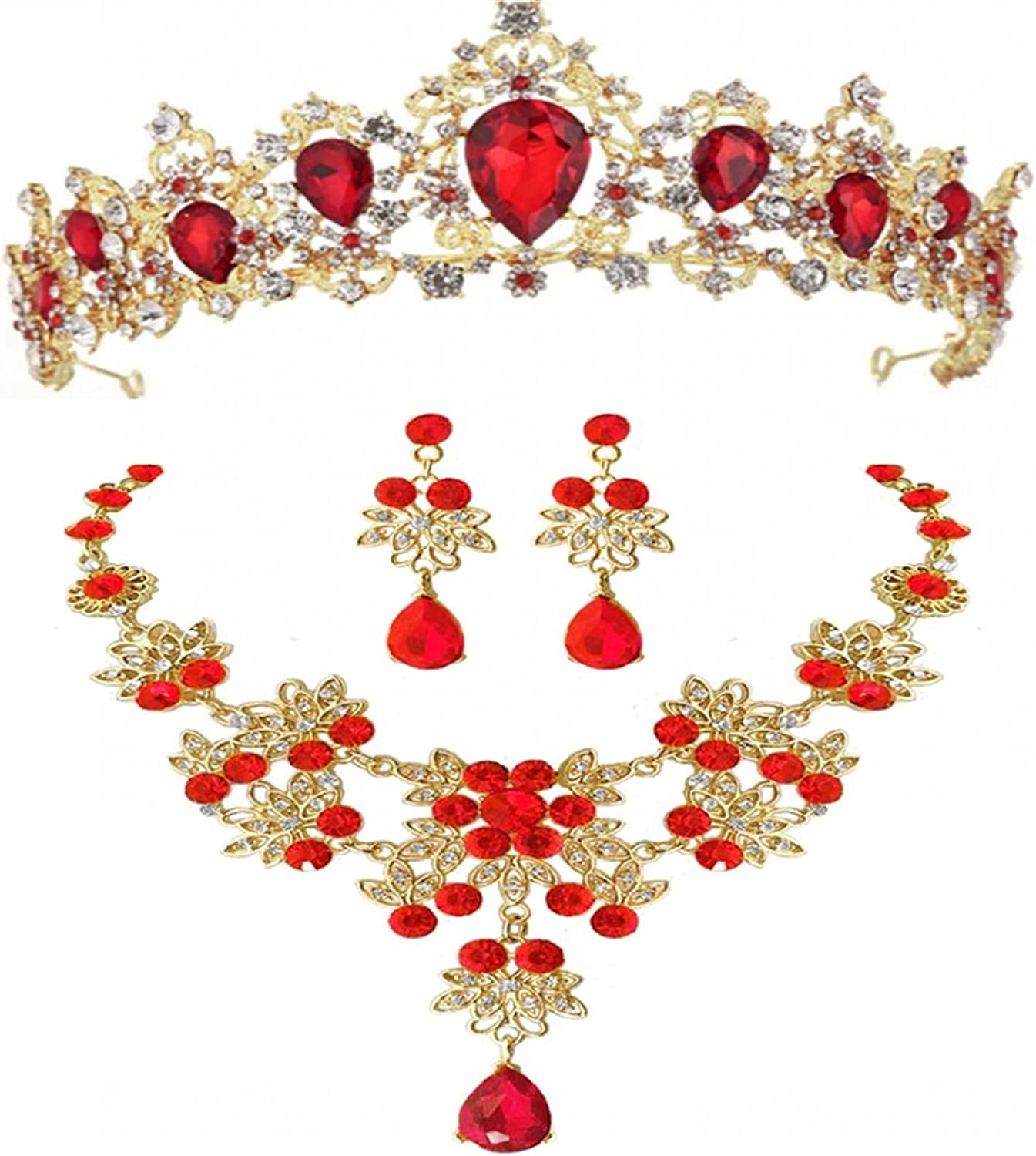 YUANBOO Baroque Vintage Gold Red Green Blue Crystal Bridal Jewelry Sets Necklace Earrings Tiara Set Wedding African Beads Jewelry Sets (Metal Color : 1Pcs Red Crown)