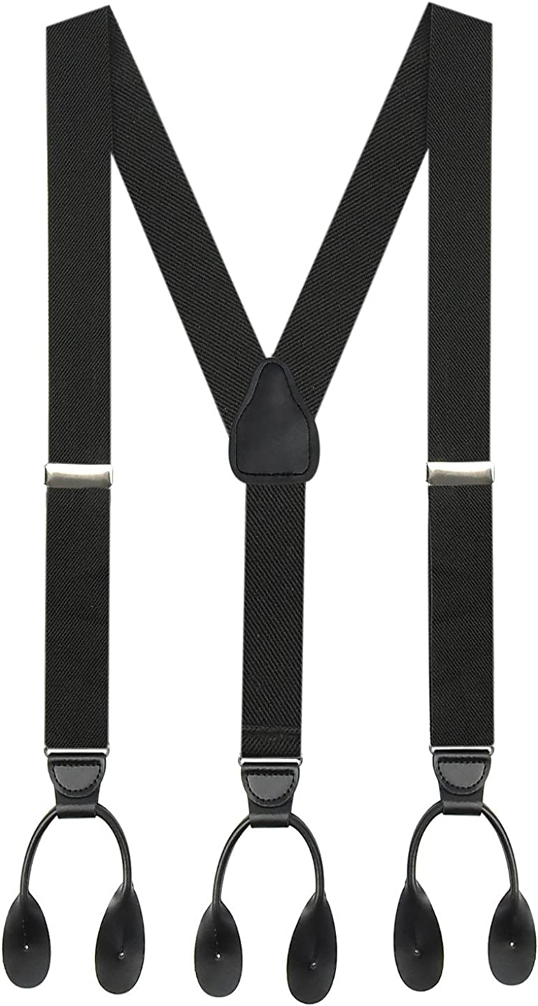 """Hold'Em 1 3/8"""" Twill Elastic Suspenders for Men USA MADE, Leather Trimmed"""