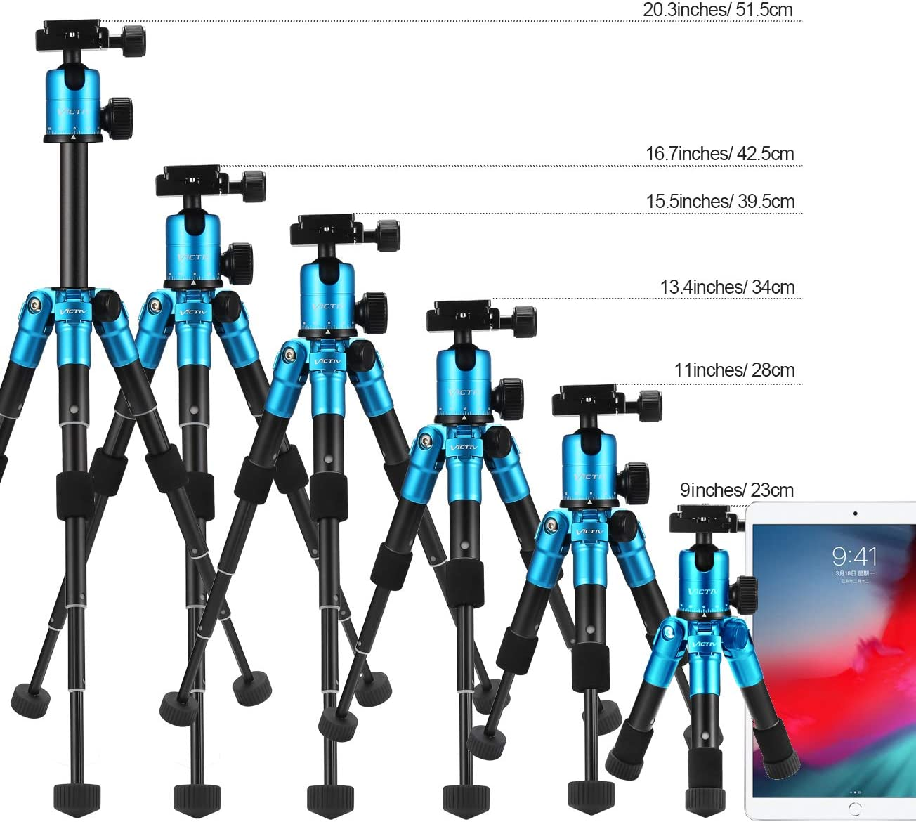 Aluminum 20.1 inches Tripod with 360 Degree Ball Head Compact Tabletop Tripod Compatible with Most Camera//Cell Phone//Spotting Scope//Ring Light,Load up to 12pounds//5.4kg Blue