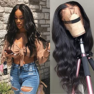 Star Show Unprocessed Brazilian Body Wave Human Hair Wigs 13X4 Lace Front Wigs with Baby Hair 180% Density Pre Plucked Natural Hairline wigs for Black Women (24 inch)