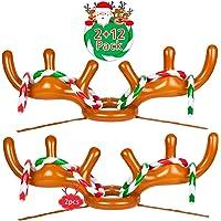 2-Pack Joyjoz Christmas Inflatable Reindeer Antler Ring Toss Game