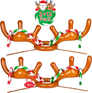 Joyjoz 2 Packs Christmas Inflatable Reindeer Antler Ring Toss Game for Christmas Holiday Party,Xmas Party, 2 to 4 Players (2 Antlers & 12 Rings)