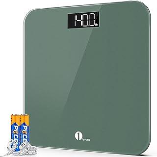 1byone Digital kroppsvikt badrumsvågar hög precisionsvågar med Step-On teknik, bakgrundsbelyst LED-skärm (sten/kg/lb), måt...